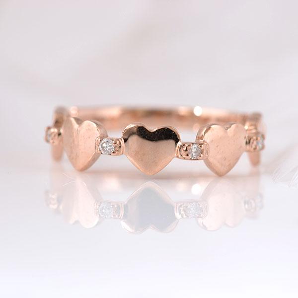 ピンキーリング ハート&ハート ダイヤモンド ピンクゴールド 小指指輪 y120060p