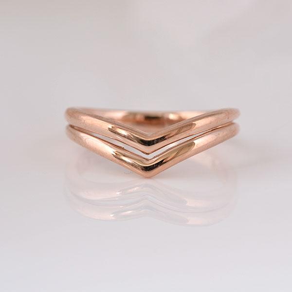 ピンキーリング やさしいV形 ピンクゴールド 小指指輪 y120062p