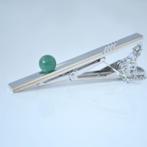 タイピン アベンチュリン 優しい緑の天然石(インド翡翠) ギフトラッピング付
