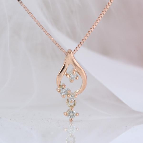 雫のようなダイヤモンドネックレス K10ピンクゴールド