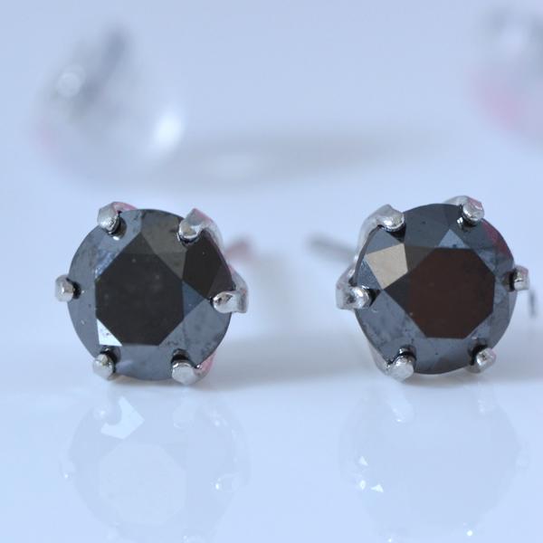 プラチナ ブラック ダイヤモンド 1.0ct  シンプルピアス