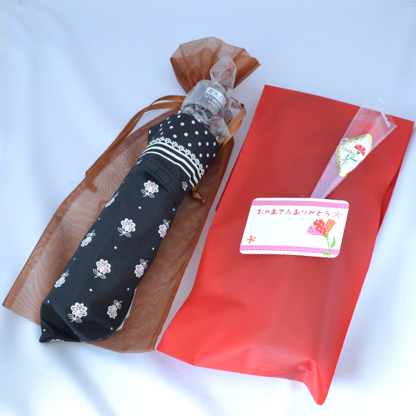 母の日プレゼント ギフトセット♪花柄とピンク水玉折りたたみ傘 と傘ポーチ UV99%CUT