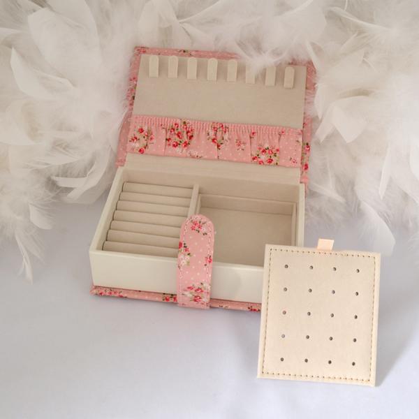 ピンク 花柄 ジュエリーケース 宝石箱 お磨きクロスとギフトセット