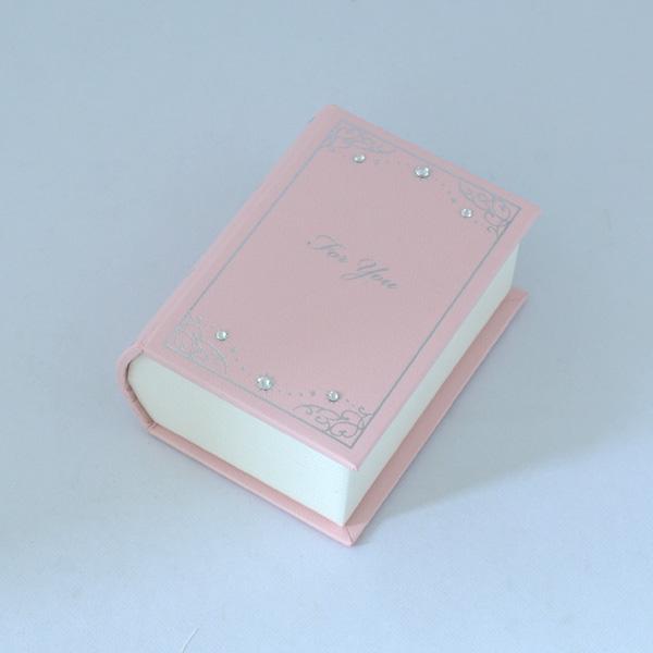 BOOK 型 ジュエリーケース 優しい ピンク 宝石箱【外箱 ラッピング クロス付】