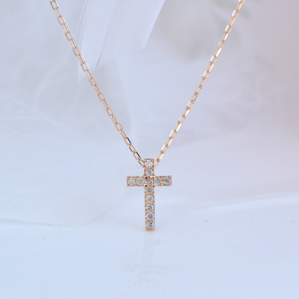 K10PG クロス 十字架 ダイヤモンド プチネックレス