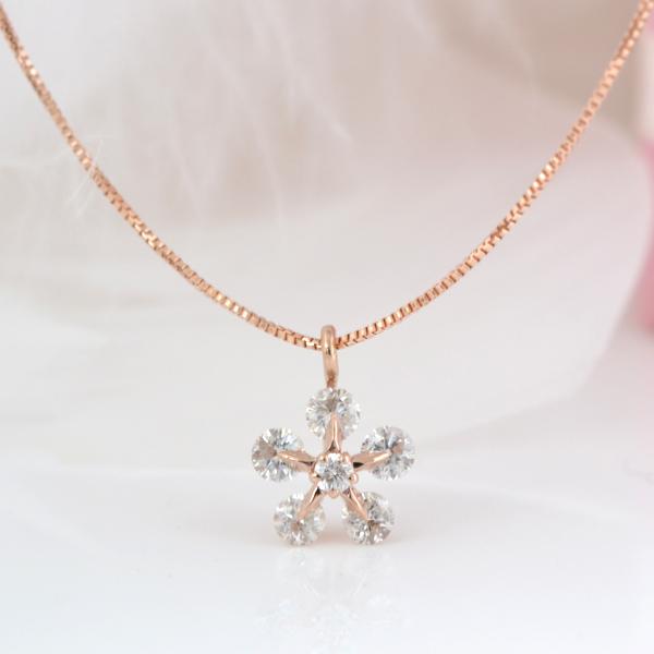 鑑別付 ダイヤが綺麗 お花型 K18PG ダイヤモンド ネックレス 約0.3Ct