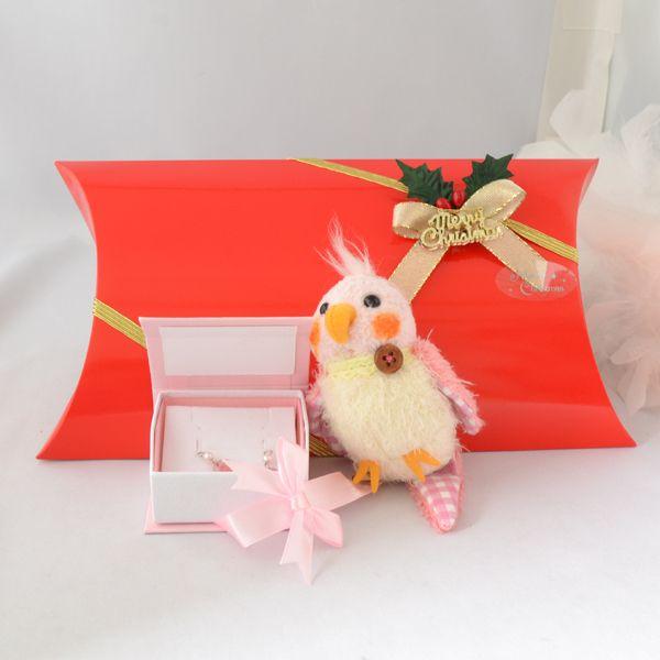 【クリスマス限定商品】幸せのピンクの羽 ピアスと可愛い鳥のチャーム クリスマスギフトセット
