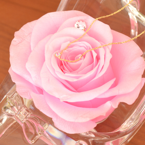 6月 誕生石 ムーンストーン ネックレス ピンク バラ シンデレラの靴 ギフトセット スワロフスキー 付
