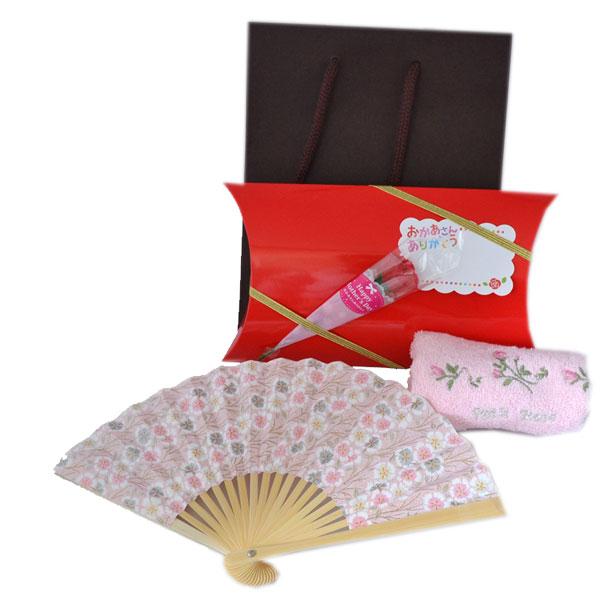 優しい ピンク 京染め紙 扇子 ハンカチ付 ギフトセット 母の日  誕生日 記念日 プレゼント y150036
