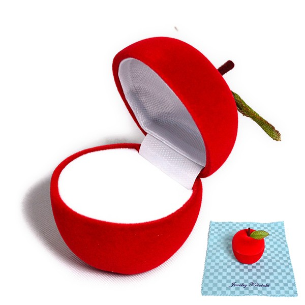 アップル デザイン ジュエリーケース 携帯用 可愛い ミニ りんご (お磨きクロス付) y160509