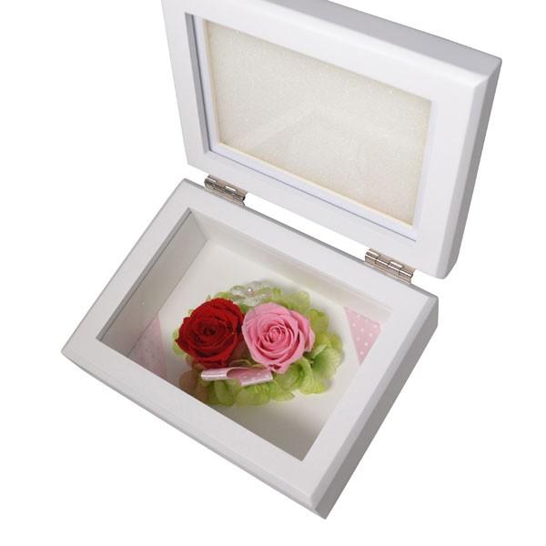 プリザーブドフラワー 写真 フレーム ピンク 赤 バラ (2人の絆のリボン) (お磨きクロス付ギフトセット) y160513