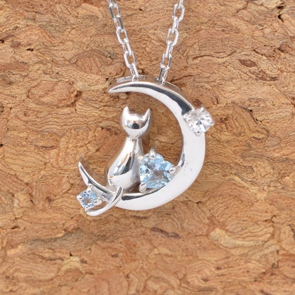 天使の卵 3月 誕生石 アクアマリン ネコ & 月 & ハート ペンダント ネックレス y170053