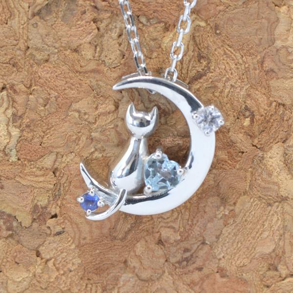 天使の卵 9月 誕生石 サファイア ネコ & 月 & ハート ペンダント ネックレス y170059