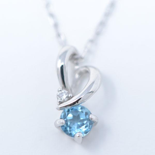 おしゃれ ハート ネックレス ペンダント 11月  誕生石 ブルートパーズ ダイヤモンド ホワイトゴールド y180131
