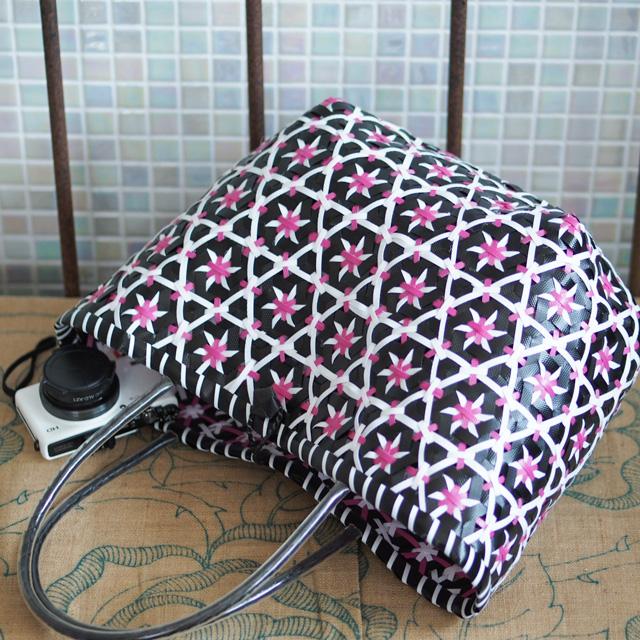 C0263  花まる★なでしこのプラカゴ L(黒×白×ピンク)