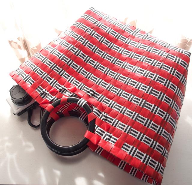 C0199 わっかの プラカゴ◆  (赤×黒) M