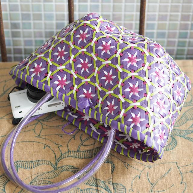 C0272 花まる★なでしこのプラカゴ S(紫色×黄緑×白×ピンク)