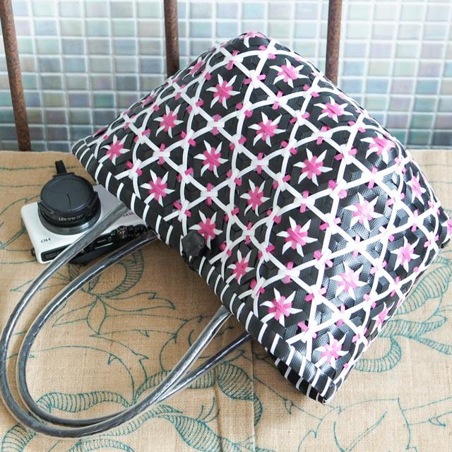 C0261  花まる★なでしこのプラカゴ S(黒×白×ピンク)