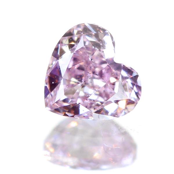 0.134ct FANCY PURPLISH PINK SI2 ハートシェイプ ピンクダイヤモンド