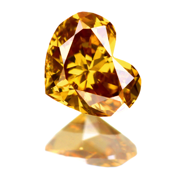 0.219ct Fancy Deep Orange Yellow I1 Heart shape I1 ダイヤモンド ルース