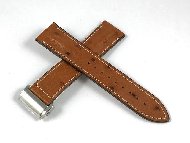 ハミルトン純正ベルト22mm/ジャズマスタービューマチック44mm用ブラウンオーストリッチベルトH600.327.109