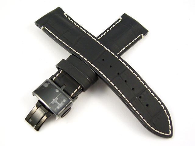 ハミルトン純正ベルト22mm/レイルロードオートクロノ用ブラックプレスカーフベルトH600406105