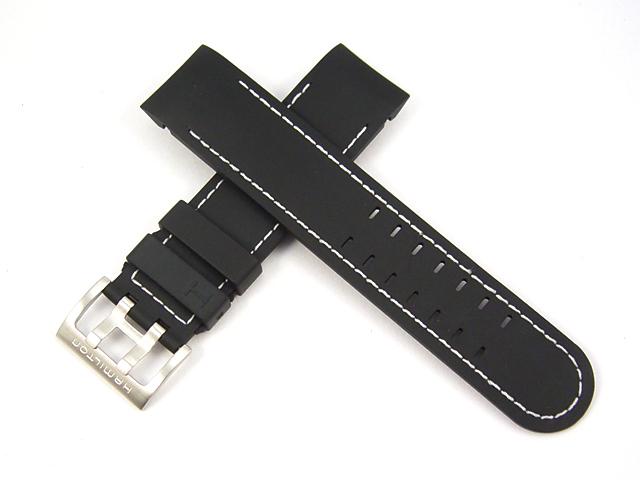 ハミルトン純正ベルト22mm/カーキエックスウインド用ブラックラバーベルトH600776106