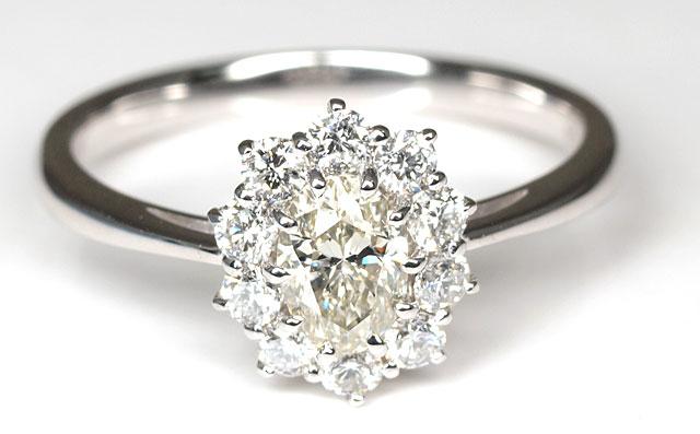 Lカラーダイヤモンド リング(指輪) 0.446ct, L, SI-1, オーバル, プラチナ900(Pt900) 中央宝石研究所 【 送料無料 】
