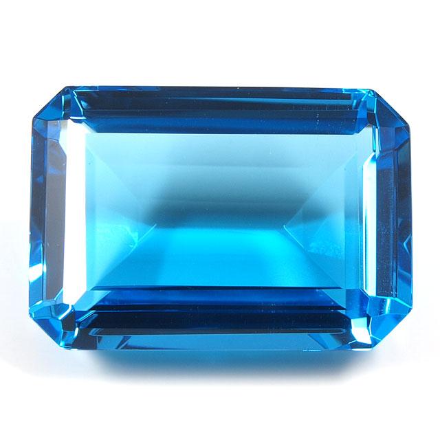 ブルートパーズ ルース 44.63ct 【 エメラルドカットの深いブルーです。9月29日・11月19日誕生日石 11月の誕生石 】 送料無料