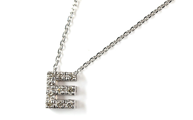 天然ダイヤモンド 0.07ct ペンダントネックレス 10金ホワイトゴールド ( イニシャル/アルファベット/E/メレーダイヤモンド/ラウンドカットのダイヤモンド/K10WG ) 【 送料無料 】