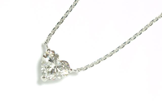 天然ダイヤモンド ペンダントネックレス プラチナ 0.72ct, Dカラー, IF(インターナリー・フローレス), ハートシェイプ, GIA