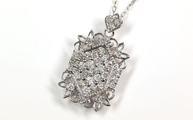 天然ダイヤモンド 0.50ct ペンダントネックレス 18金ホワイトゴールド ( アンティーク調/メレーダイヤモンド/ラウンドカットのダイヤモンド/K18WG ) 【 送料無料 】
