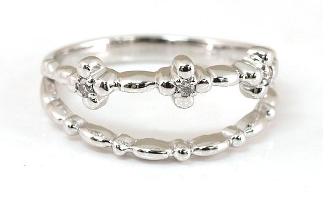 ファランジリング ダイヤモンド K18WG (18金ホワイトゴールド) 【 おサイズ対応:-3号~7号まで。ピンキーリングとしても大人気! 】 【 送料無料 】