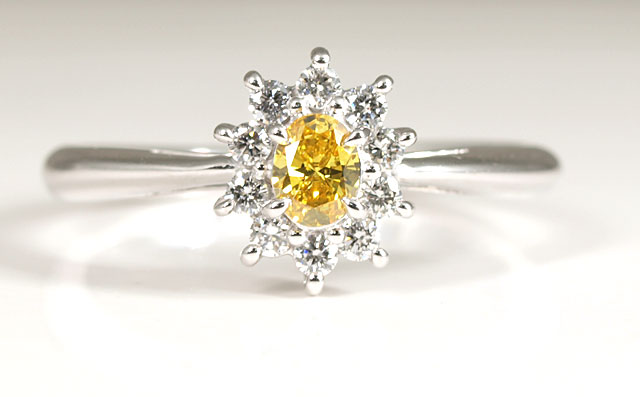 天然イエローダイヤモンド ルース(裸石) 0.128ct,SI-2,Fancy Vivid Yellow(ファンシー・ビビッド・イエロー)【 AGTジェムラボラトリーソーティング袋付 】 【 送料無料 】