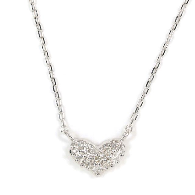 天然ダイヤモンド 0.05ct ペンダントネックレス 18金ホワイトゴールド (ハート/パヴェ/パベ/メレーダイヤモンド/ラウンドカットのダイヤモンド/K18WG) 【 送料無料 】