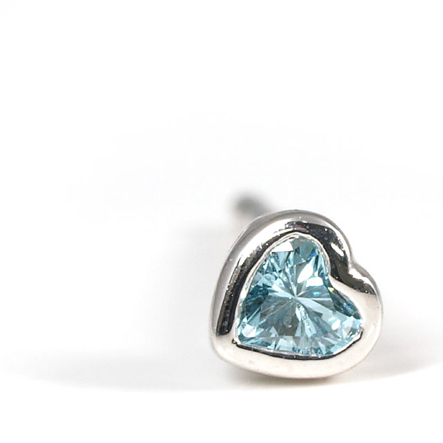 小さな小さな片耳用ピアス ブルーダイヤモンド (トリートメント) 0.046ct ハートシェイプ プラチナ900 シングルピアス スタッドピアス 送料無料