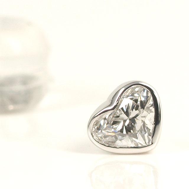 ハートシェイプダイヤモンド 片耳用ピアス Pt900