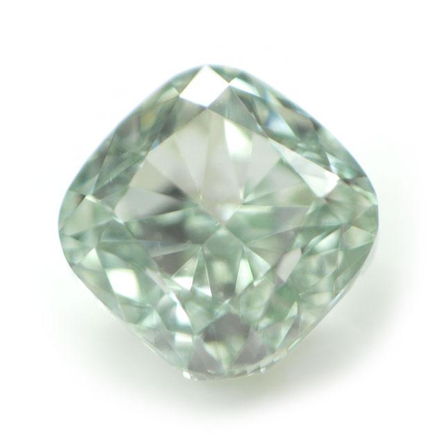 天然グリーンダイヤモンド ルース(裸石) 0.056ct, Fancy Green ( ファンシー・グリーン ), VS-2, クッション 中央宝石研究所ソーティング 送料無料