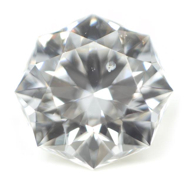 【通称名:クリスタルムーン】 天然ダイヤモンド ルース(裸石) 0.238ct, Dカラー, SI-1, 73面体, ハート&キューピッド, 正八角形, 中央宝石研究所 【送料無料】