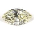 【 蛍光性 : ストロング・イエロー 】 天然ダイヤモンド ルース 0.500ct Mカラー, マーキース 【 照りのある綺麗な形状です。 】