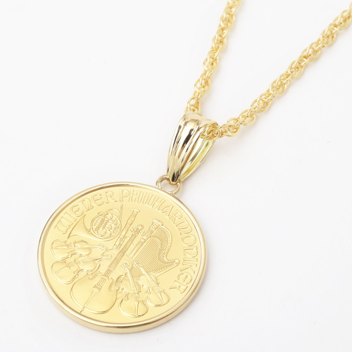 純金 コイン ペンダント ウィーンハーモニー 金貨 K18 デザイン枠 1664-PG11
