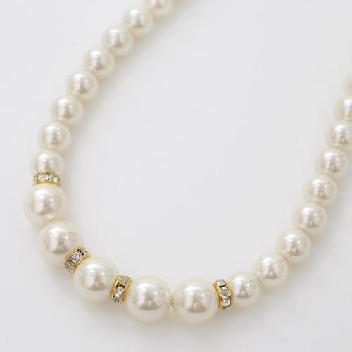 真珠 シェルパール みがき貝パール セミロングネックレス  2082-NP13