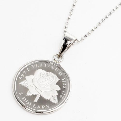 純プラチナ コイン 1/25オンス ホワイトローズ ペンダント 2465-PP15