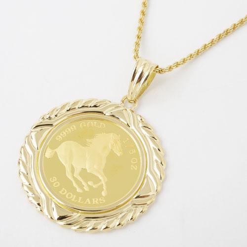 純金 1/5オンス ホース コイン ペンダント 2488-PG16
