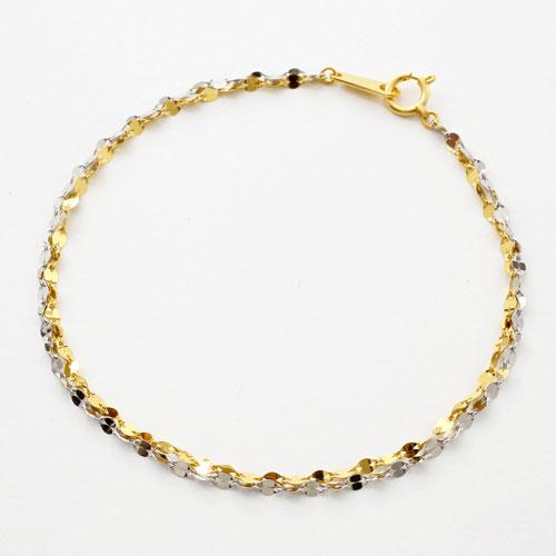 純金 純プラチナ ブレスレット きらきら2連 ペダル チェーン 18cm 3082-BG17