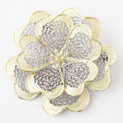 手作り ツーカラー シルバー925 フィリグラーナ ブローチ兼用ペンダント(タイニー・フラワー)小さな花 3732-DM18