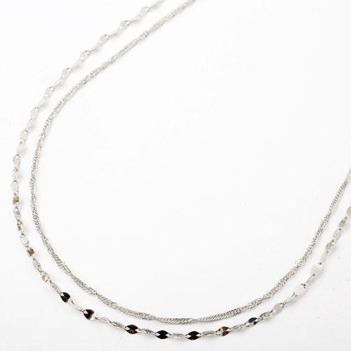 純プラチナ 2連 ネックレス ペダル&スクリュー 3774-NM18