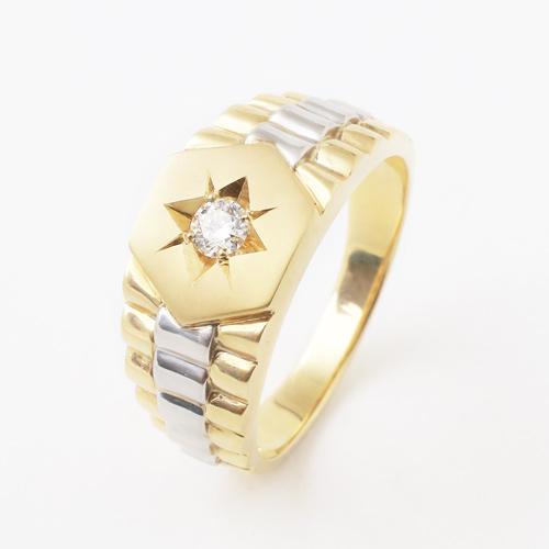 プラチナ900 18金 ダイヤモンド 0.1ct 男女兼用 リング 3992-HG19