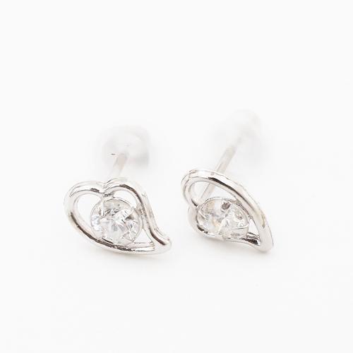 日本製 プラチナ900 ダイヤモンド ピアス オープンハート 合計0.2カラット 4131-HG19