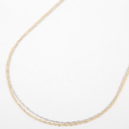 日本製 18金 プラチナ850  ネックレス 2連 ツーカラ― 4227-NM20
